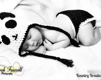 Crochet Panda Hat/Diaper Cover/Baby/Crochet Panda Set/Panda Bear/Newborn Hat and Diaper Cover Set/Panda/ (Ready to Ship)