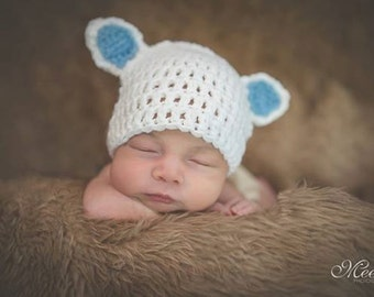 Crochet Lamb Hat, Newborn Lamb Hat, Baby Boy Hat, Toddler Hat,MY LITTLE LAMB Baby Hat  (Ready to Ship)