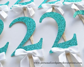2 Aqua Glitter Cupcake Toppers Boy 1st Birthday Party 2nd 3rd Decorations Quick Free Shipping