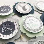 Gray, Mint, Navy Deer Baby Shower Cupcake Toppers, Deer Baby Shower Décor, It's A Boy Baby Shower, Baby Boy - Ships Quick, Free Shipping