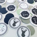 Navy, Mint Light Gray Deer Baby Shower Table Confetti, Baby Shower Table Decoration, Deer Baby Shower Decor - Ships Quick & Free