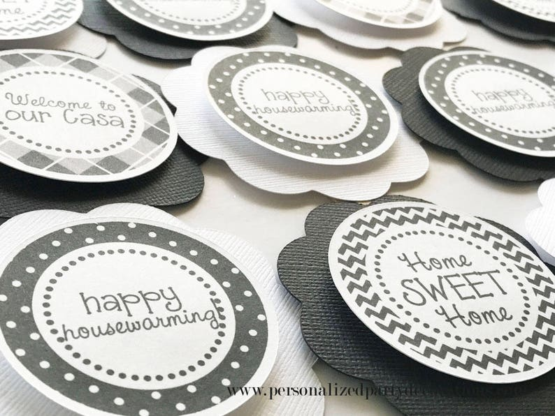 Black and White Housewarming Party Cupcake Toppers image 0