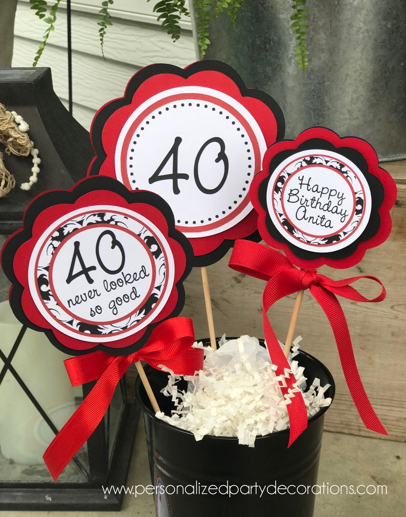 40th Birthday Party Table Sign Decorations, Classic 40th Birthday Party  Decorations, Adult Birthday Table Decor  Choose Colors U0026 Sayings