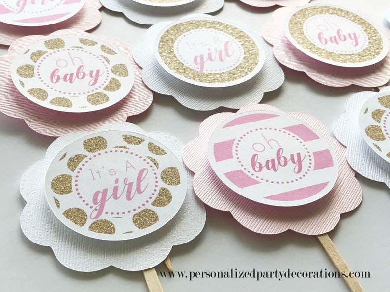 Kate Spade Inspired Baby Shower Cupcake Toppers Gold and Pink image 0