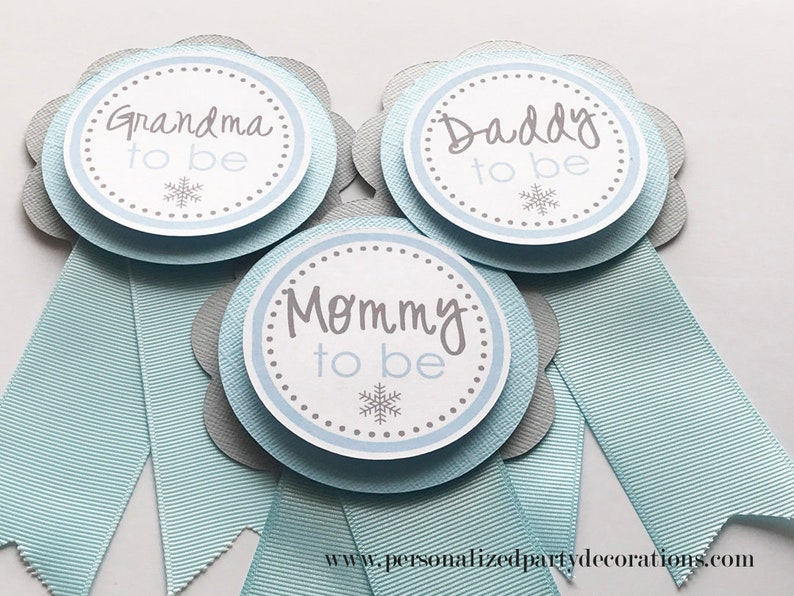Blue and Gray Snowflake Baby Shower Corsage Mommy Grandma or image 0