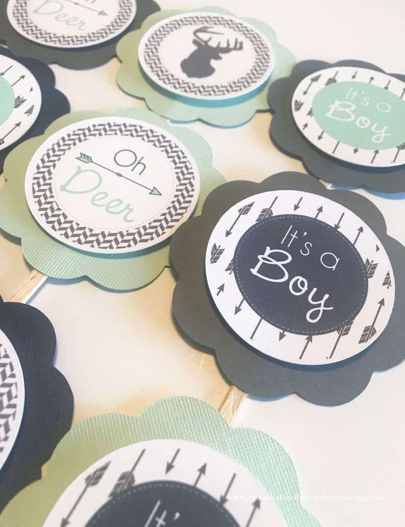 Charcoal Gray  Mint Navy Deer Baby Shower Cupcake Toppers image 0