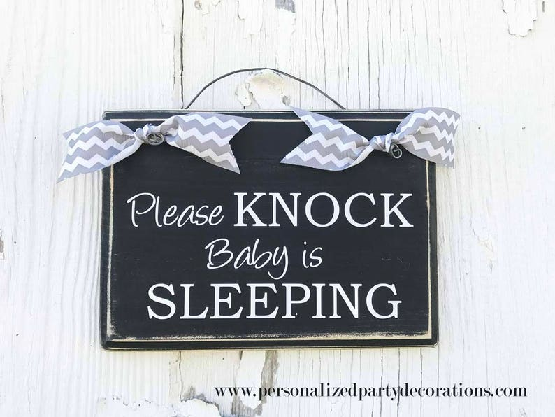 Please Knock Baby Is Sleeping Door Hanger Baby Shower Gift image 0