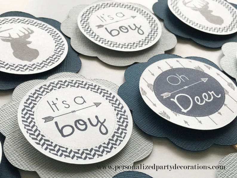Light Gray and Navy Deer Baby Shower Cupcake Toppers Oh Deer image 0