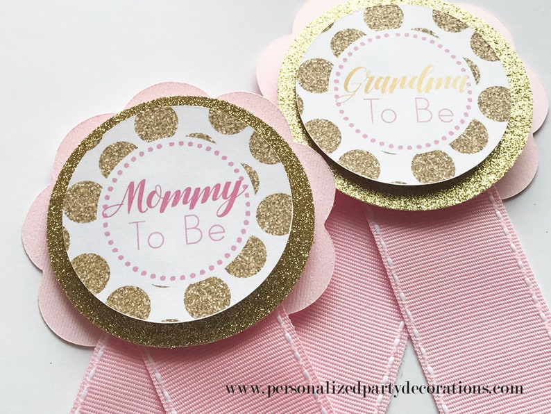 Pink and Gold Baby Shower Corsage Mommy To Be Pin Grandma To image 0