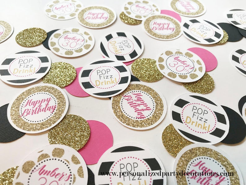 30th Birthday Party Decorations, Adult Birthday Party Table Decorations,  Hot Pink, Black U0026 Gold Dirty 30, 30th Birthday Table Confetti