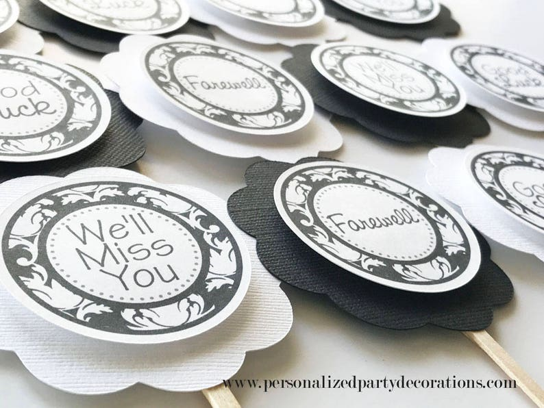 Black and White Going Away Party Cupcake Toppers Going Away image 0