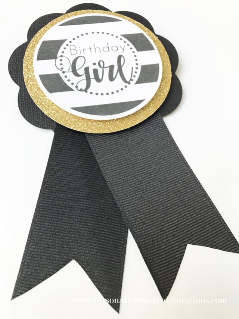 Black and Gold Birthday Girl Corsage Birthday Girl image 0