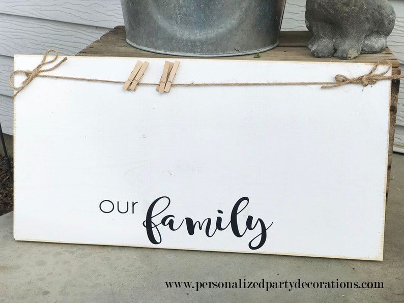 Our Family Picture Display Board Black & White Wood image 0