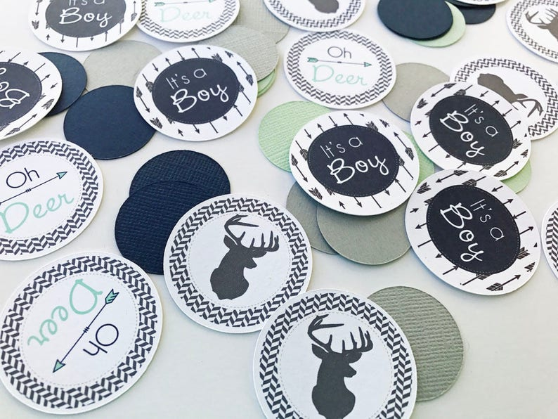 Navy Mint Light Gray Deer Baby Shower Table Confetti Baby image 0