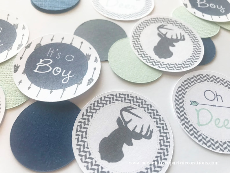 Navy Mint Dark Gray Deer Silhouette Baby Shower Table image 0