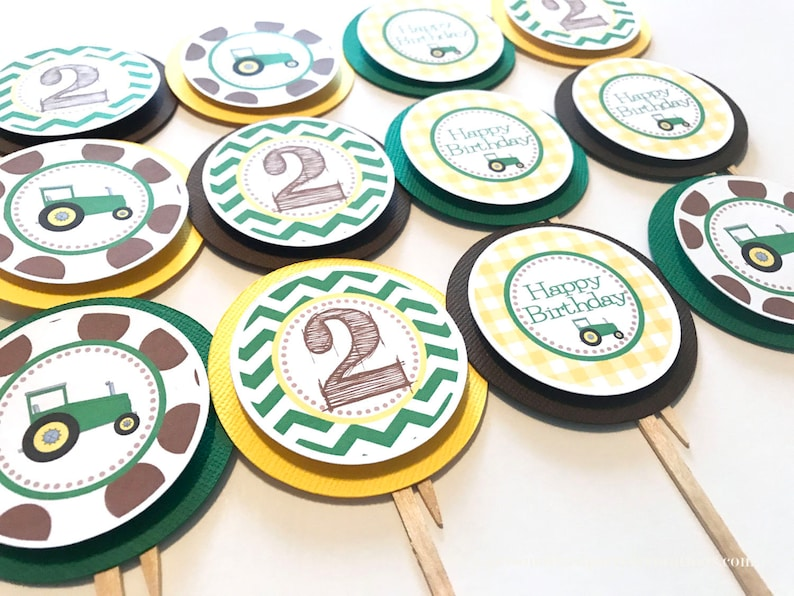2nd Birthday Tractor Party Cupcake Toppers Green Tractor image 0