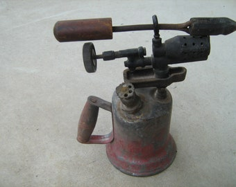 A old vintage gas soldering iron Wynn and Timmins and Co heart brand gas blow torch town gas