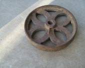 antique cast iron architectural salvage 9-1 2 quot round wheel wall decor, wall hanging.