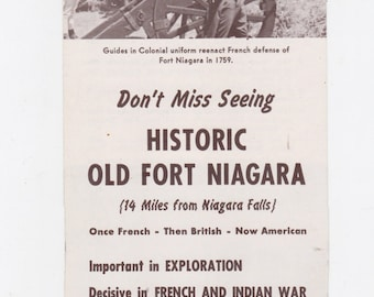 1950s old fort Niagara Youngstown N.Y. travel brochure