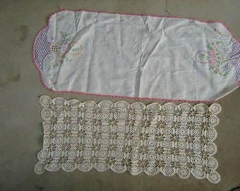 estate find 2 vintage  crocheted & embroidered table runners