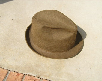 Vintage mens brown fedora hat from Adams New York  size 7-3/8""