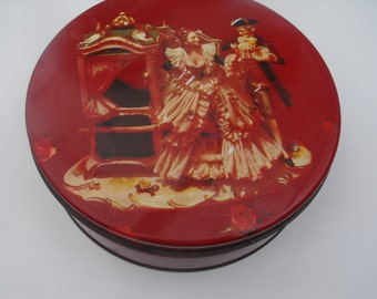 Vintage Red Tin Colonial Lady Couple Man Carriage Unique
