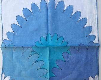 MONIQUE Mod Vintage Hankie Blue Flowers Handkerchief 1960s Periwinkle