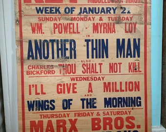 Fabulous 1939 Movie Theater Posters The Thin Man Powell Loy Marx Brothers - Choose ONE