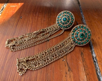 Absolutely Spectacular Over-the-Top Bejeweled Wrap Cuff-Links! 1960's Bling