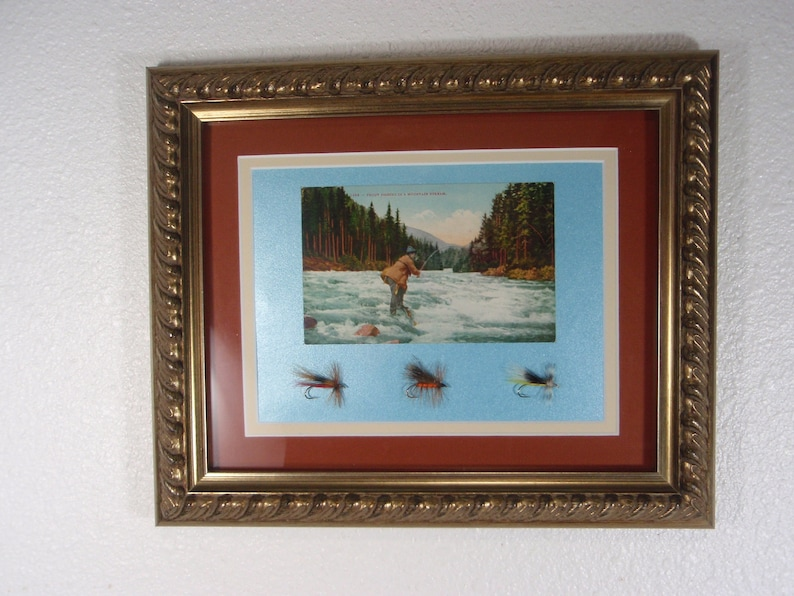 wall display with Stone Flies Antique 1908 postcard
