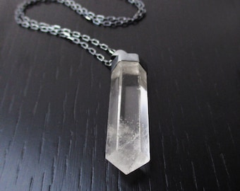 Quartz point necklace, natural rock crystal pendant, modern gemstone necklace, oxidized sterling silver chain, long minimal quartz necklace