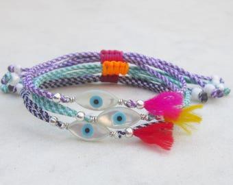 Evil eye friendship bracelet, dainty cord stacking bracelet, boho tassel everyday armband, multicolor fringe bracelet, bohemian bracelet
