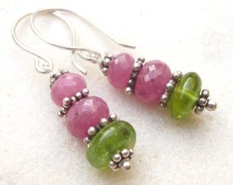 Pink sapphire & peridot dangle earrings, sterling silver precious gemstone earrings, boho chic drop earrings, elegant bohemian earrings
