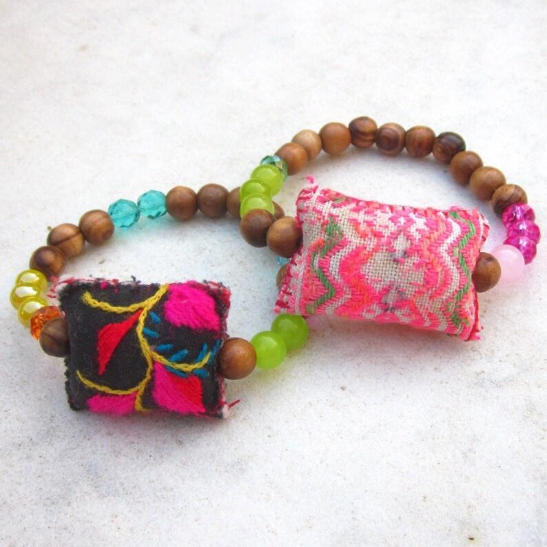 7fc70b5d7a9 Boho wood bead bracelet/ Hmong Hill Tribe textile bracelet/ | Etsy