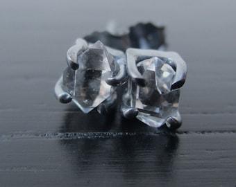 Herkimer diamond earrings, small Herkimer Studs, raw quartz stud earrings, rough crystal posts, Herkimer diamond, Herkimer silver earrings
