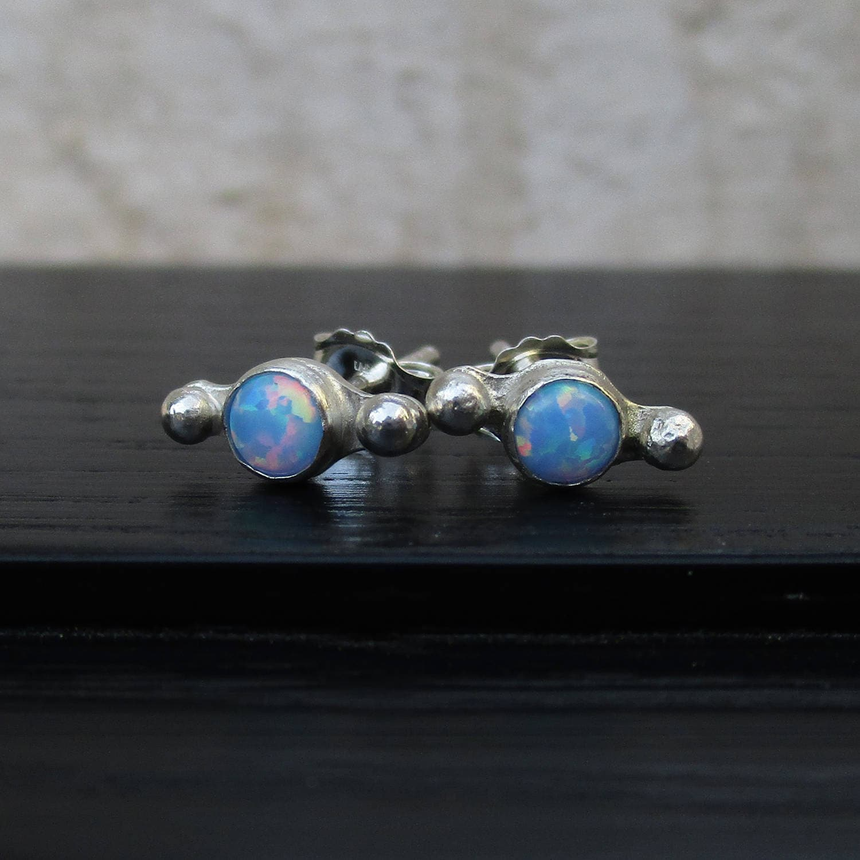 Synthetic opal studs 4mm cornflower blue opal post earrings