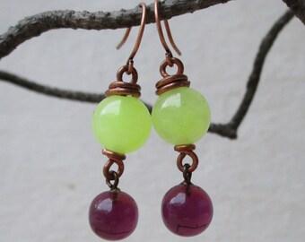 Colorblock stone dangle earrings, neon yellow jade and purple vintage glass bead earrings, colorful copper earrings, modern stone earrings