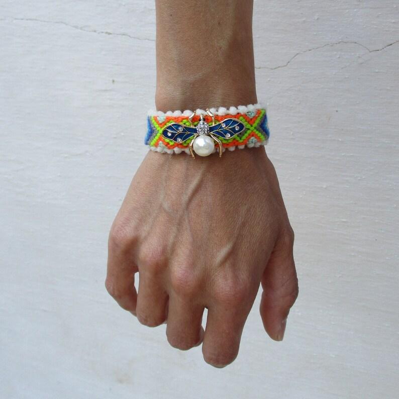 6869ca397c5 Embelished friendship bracelet cuff/ bohemian stacking | Etsy