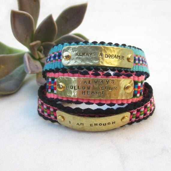 8d00c8cdadb Motivation quote bracelet/ friendship bracelet cuff/ hand | Etsy
