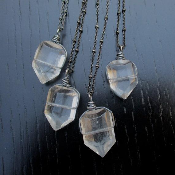 Natural Quartz Point /& Garnet Pendant Necklace 261503 Boho Clear Quartz Genuine Rock Crystal 925 Sterling Silver