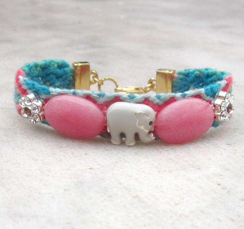 19419120f1a Elephant friendship bracelet/ stone and Swarovski crystals | Etsy