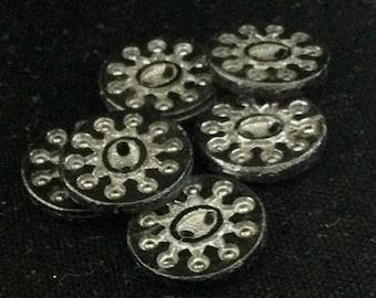 6 VICTORIAN BLACK GLASS Buttons