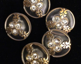 5 CLEAR GLASS with RHINESTONES Buttons