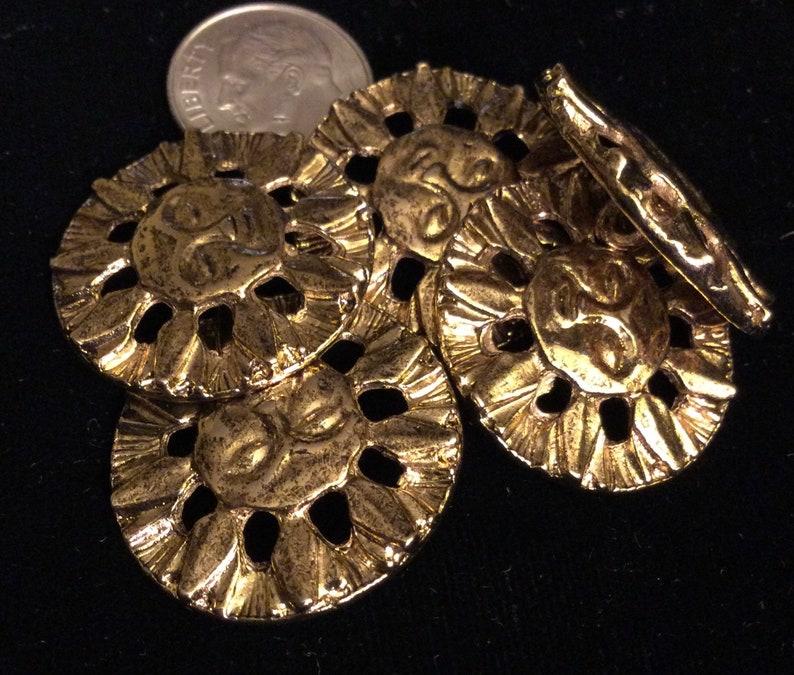 5 GOLD METAL SUN Buttons