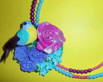 Mint Blooming Bird Corsage Necklace