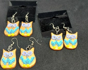 Owls - Earrings - Handcrafted