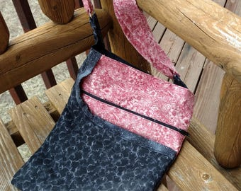 Crossover Bag - Red and Black - Handmade