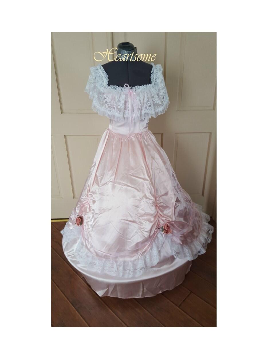 Civil War Gown Victorian dress Antebellum Pink masquerade | Etsy