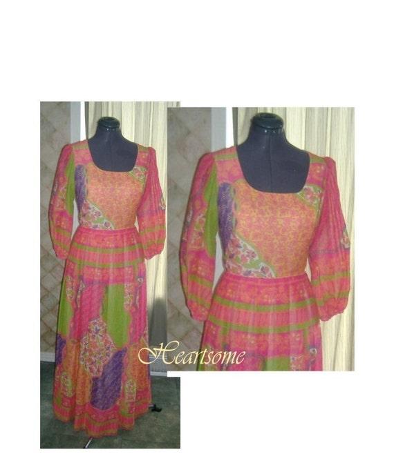 Dress vintage mod 60s 70s boho flower patchwork c… - image 1