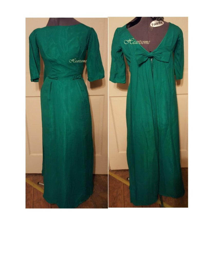 3f35731dbe5b Vintage 60's 70's gown kelly green emerald maxi empire | Etsy